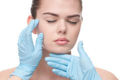Medical examination face of beautiful woman Stock Photography