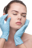 Medical examination face of beautiful woman royalty free stock photo