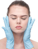 Medical examination face of beautiful woman Royalty Free Stock Image
