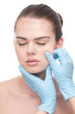 Medical examination face of beautiful woman Stock Image