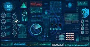 Medical examination HUD elements set. interface stock illustration