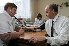 Medical examination of pensioners Royalty Free Stock Image
