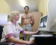 Medical examination at the recruitment center Stock Image