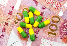 Medical expenses, medicines and renminbi.  Royalty Free Stock Photography