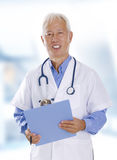 Medical expertise. Asian senior male doctor portrait in hospital stock image