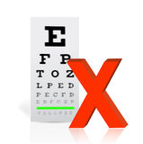 Medical Eye Chart with a x mark. poor vision Stock Images