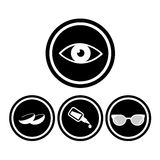 Medical eye icons. Medical eyes icons in black circles Stock Images
