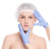 Medical face examination of beautiful woman Stock Photo