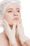 Medical face examination of beautiful woman Stock Photography