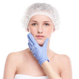 Medical face examination of beautiful woman Royalty Free Stock Photos