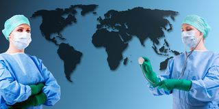Medical female doctor world map Stock Image