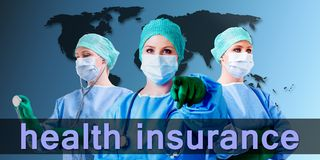 Medical female doctor world map Stock Images