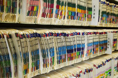 Medical Files. Shelves filled with colorfully labeled  medical files Royalty Free Stock Images