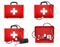 Medical first aid box case kit stock vector illustration. Isolated on white background Royalty Free Stock Photo