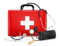 Medical first aid box case kit stock vector illustration. Isolated on white background Stock Photos