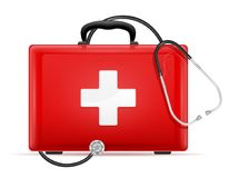 Medical first aid box case kit stock vector illustration. Isolated on white background Royalty Free Stock Photos