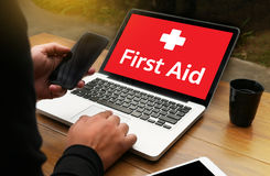 Medical First Aid Paramedic Medication Accidental Emergency doc. Tor hand working Professional royalty free stock photos