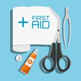 Medical first aid tools treatment. Vector illustration Stock Images
