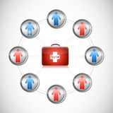 Medical first kit people network illustration. Design over white Royalty Free Stock Image