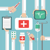 Medical Flat background with hand Stock Images
