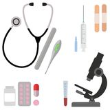 Medical flat  background, health care, first aid. International health protection, insurance. Medicine and surgery. Vaccination, medical research program Royalty Free Stock Images