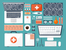 Medical flat background. Health care,first aid,research, cardiology. Medicine,study. Chemical engineering ,pharmacy. Royalty Free Stock Photos