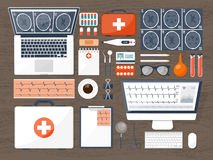 Medical flat background. Health care,first aid,research, cardiology. Medicine,study. Chemical engineering ,pharmacy. Stock Image