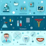 Medical flat banners Stock Images