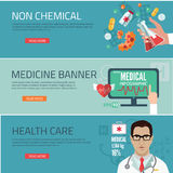 Medical flat banners set with laboratory pharmacy dentistry isolated vector illustration Royalty Free Stock Photo