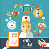 Medical flat banners set with laboratory. Stock Photos