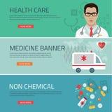 Medical flat banners set  vector illustration Royalty Free Stock Photo
