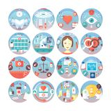 Medical flat circle icons set. Kinds of medical services. Vector icon collection. Medical flat circle icons set. Kinds of medical services. Vector icon royalty free illustration
