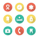 Medical flat design icons set. Hospital healthcare center. First aid medicine chest long shadow pictogram. Star of life ambulance silhouette symbol. Clinic Stock Photo
