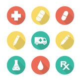 Medical flat design long shadow icons set Stock Images