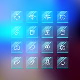 Medical Flat Glass Icons on Blur Background Royalty Free Stock Photo