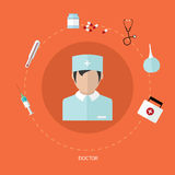 Medical flat icon set with doctor, vector design Stock Photos