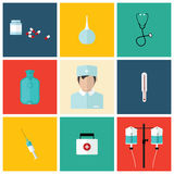 Medical flat icon set with doctor, vector design Stock Images