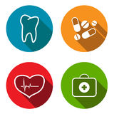 Medical flat icon set Stock Image