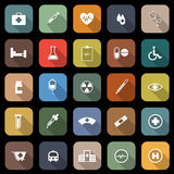 Medical flat icons with long shadow Royalty Free Stock Photography