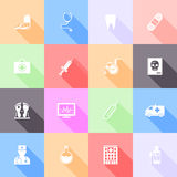 Medical flat icons. With long shadow. Vector illustration Royalty Free Stock Images