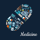 Medical flat icons in a pill shape Royalty Free Stock Images