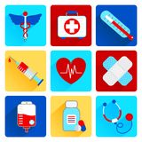 Medical flat icons set. Medical emergency health care flat icons set with first aid kit pill thermometer isolated vector illustration Stock Photography