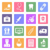 Medical flat icons set. 16 Medical flat icons isolated on white background. Vector illustration Royalty Free Stock Photos