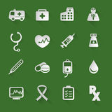 Medical flat icons. Set with long shadow style Stock Image