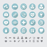 Medical flat icons set vector. Medical blue flat icons set vector Royalty Free Stock Images