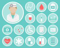 Medical flat icons. Medical flat vector icons for your website, business cards, brochures in the form of a circle Royalty Free Stock Photos