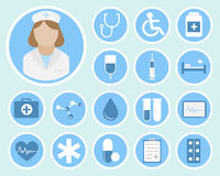 Medical flat icons. Medical flat vector icons for your website, business cards, brochures in the form of a circle Royalty Free Stock Images