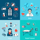 Medical Flat Set. With first aid doctor patient hospital treatment isolated vector illustration Royalty Free Stock Images
