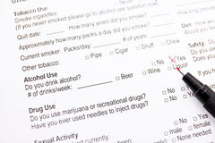 Medical form - alcohol use Royalty Free Stock Images