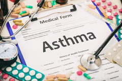Medical form, diagnosis asthma. Medical form on a table, diagnosis asthma royalty free stock image
